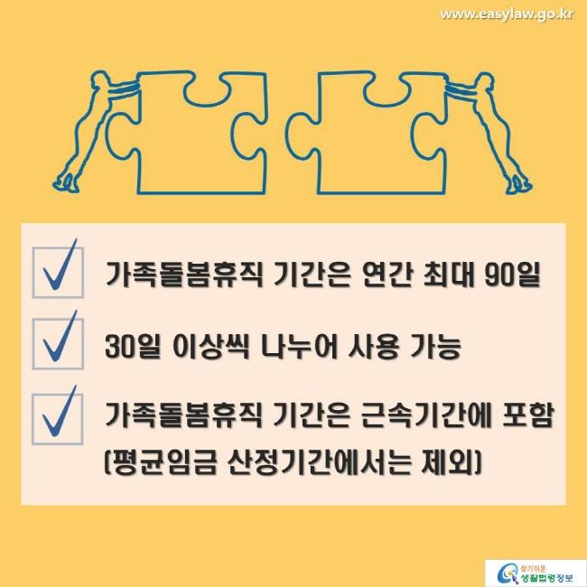 가족돌봄휴직 기간은 연간 최대 90일 / 30일 이상씩 나누어 사용 가능 / 가족돌봄휴직 기간은 근속기간에 포함(평균임금 산정기간에서는 제외)